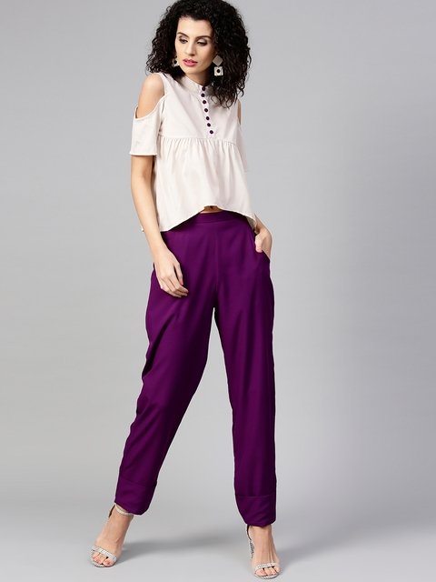 aasi Women Off-White & Purple Solid Top with Trousers