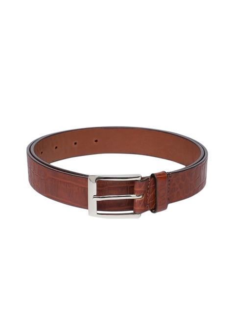 Hidesign Men Tan Brown Textured Belt