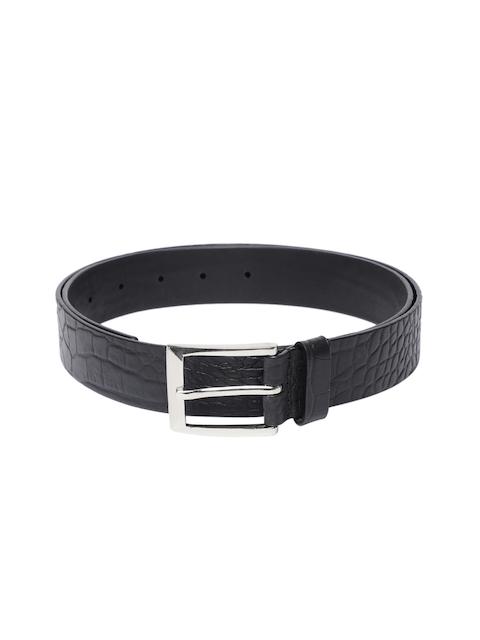 Hidesign Men Black Textured Leather Belt