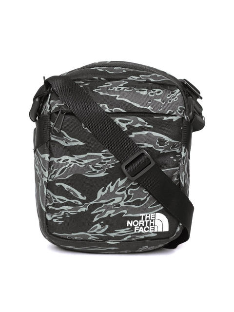 The North Face Unisex Black & Grey Printed Convertible Travel Bag