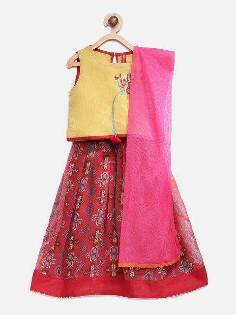 Ethnicity Girls Mustard Yellow Embroidered Ready to Wear Lehenga & Blouse with Dupatta