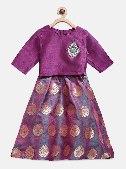Ethnicity Girls Pink Woven Design Ready to Wear Lehenga & Blouse