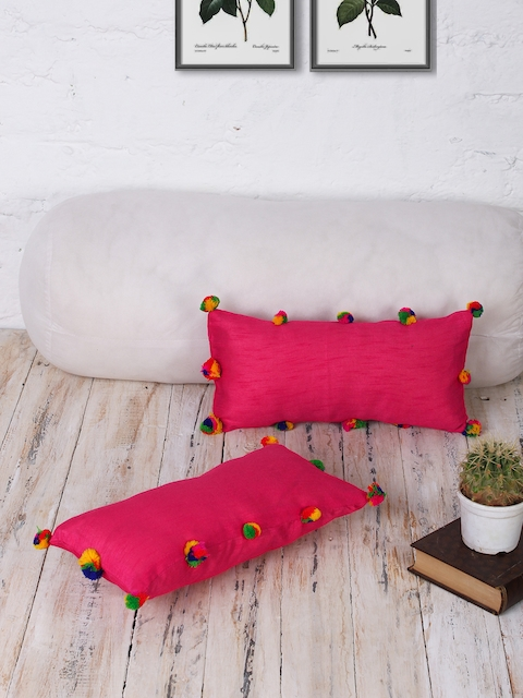 RANGDESI Magenta Set of 2 Solid 7 x 14 Rectangle Cushion Covers
