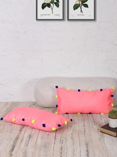 RANGDESI Pink Set of 2 Solid 9 x 18 Rectangle Cushion Covers