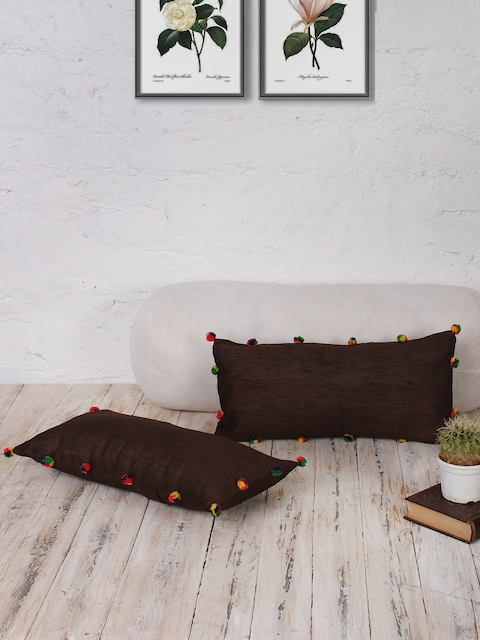 RANGDESI Brown Set of 2 Solid 9 x 18 Rectangle Cushion Covers