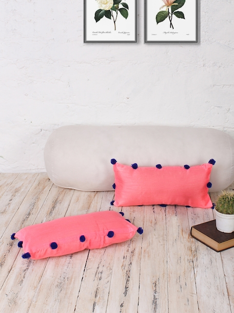 RANGDESI Pink Set of 2 Solid 7 x 14 Rectangle Cushion Covers