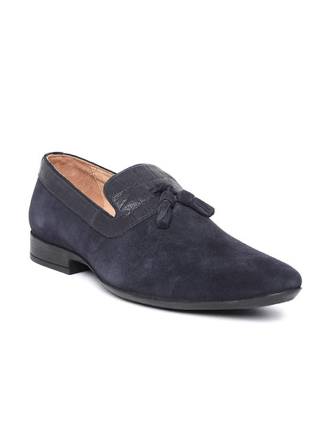 Salt & Hydes Men Navy Blue Leather Slip-On Sneakers
