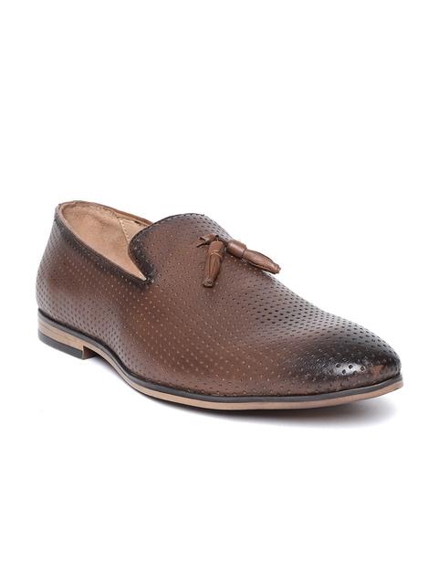 Salt & Hydes Men Brown Textured Semiformal Leather Slip-Ons