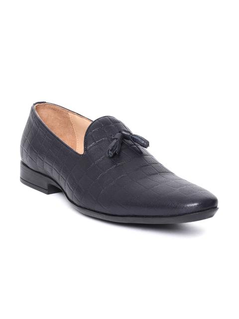 Salt & Hydes Men Navy Blue Leather Croc Textured Slip-Ons