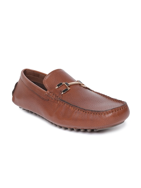 Salt & Hydes Men Brown Leather Driving Shoes