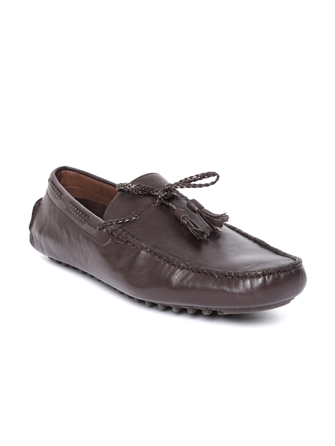 Salt & Hydes Men Coffee Brown Leather Driving Shoes