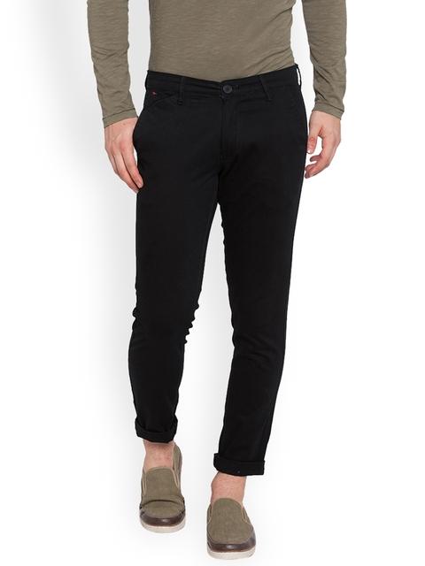 SPYKAR Men Black Slim Fit Solid Regular Trousers
