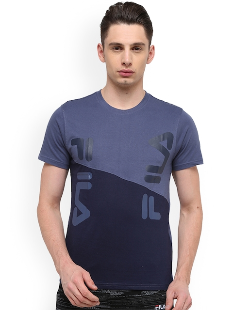 FILA Men Blue Printed Round Neck T-shirt