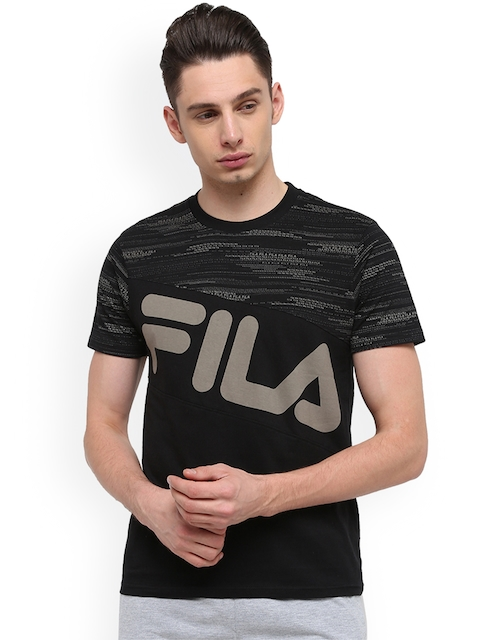 FILA Men Black Printed Round Neck T-shirt