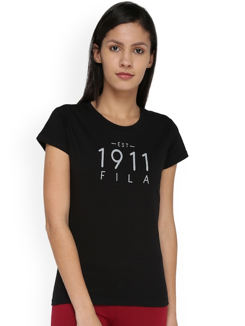 FILA Women Black Printed Round Neck T-shirt