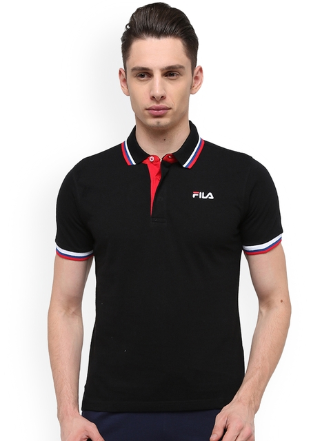 FILA Men Black Solid Polo Collar T-shirt