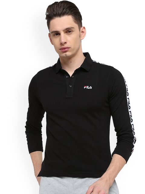 FILA Men Black Printed Polo Collar T-shirt