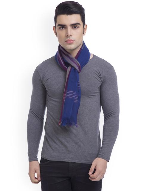SHINGORA Men Blue, Purple & Grey Striped Muffler
