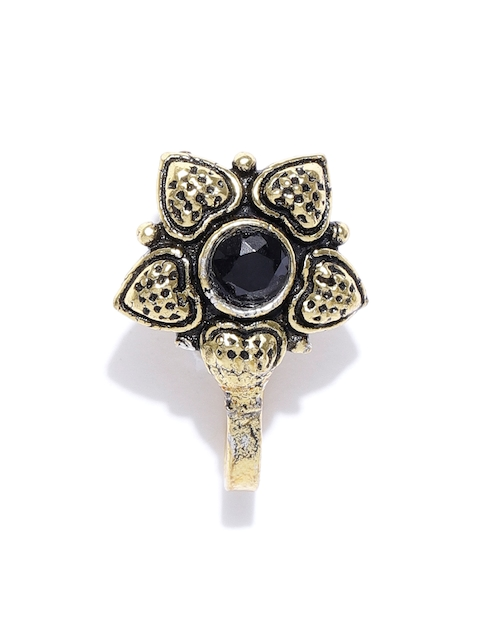 FIROZA Black & Antique Gold-Toned Stone-Studded Nosepin