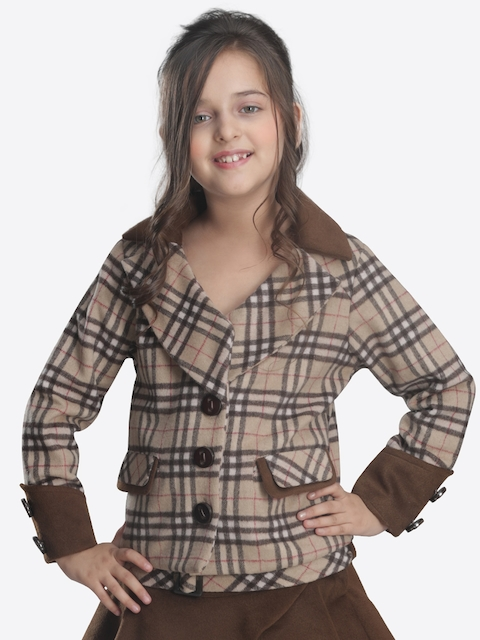 CUTECUMBER Girls Beige & Brown Checked Overcoat