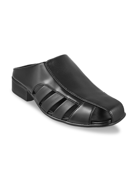 Metro Men Black Fisherman Sandals