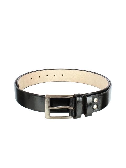 Swiss Design Men Black Solid Leather Belt