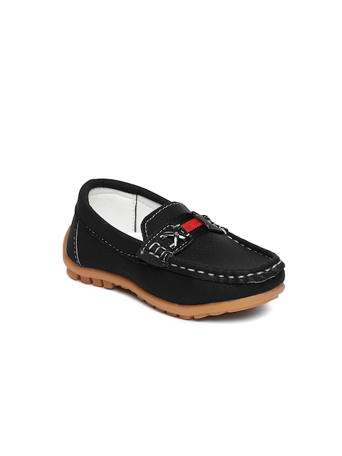 Kittens Boys Black Solid Loafers