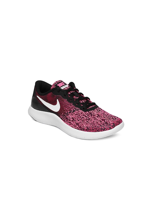 Nike Girls Black & Pink Printed Flex Contact Running Shoes