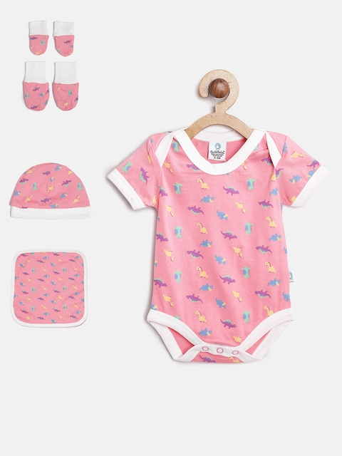 Cuddledoo Unisex Pink Printed Clothing Set