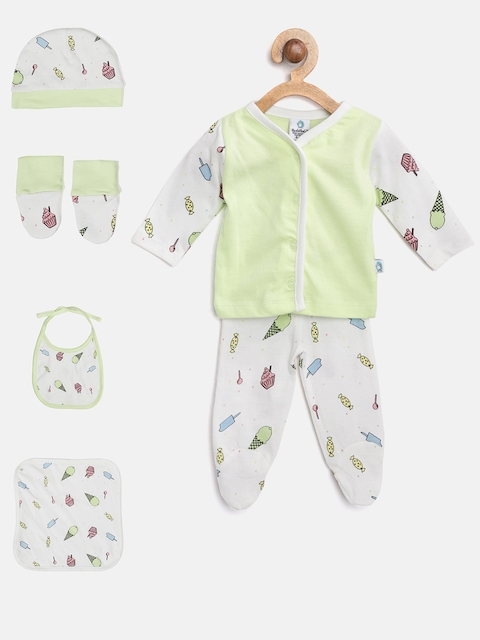 Cuddledoo Unisex Green & White Clothing Set