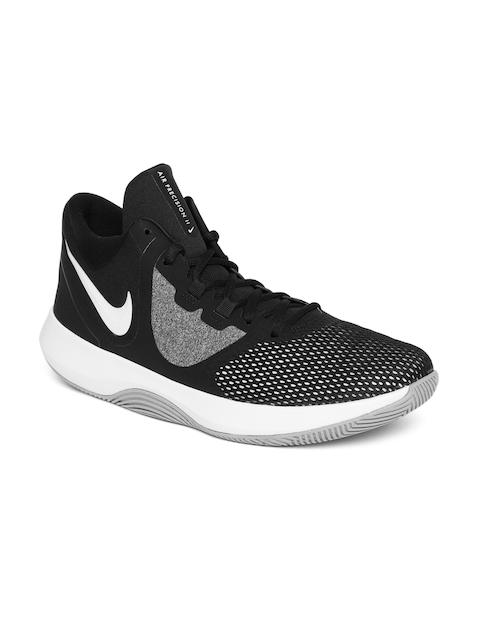 Nike Men Black AIR PRECISION II Mid-Top Basketball Shoes