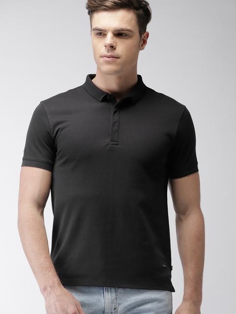 Levis Men Black Solid Polo T-shirt