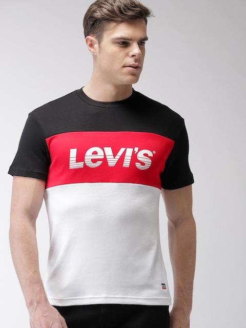 Levis Men Black, Red & White Colourblocked Round Neck T-shirt