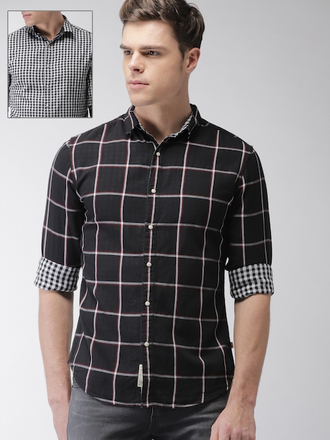 Levis Men Black & White Regular Fit Checked Reversible Casual Shirt