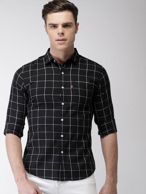 Levis Men Black Slim Fit Checked Casual Shirt