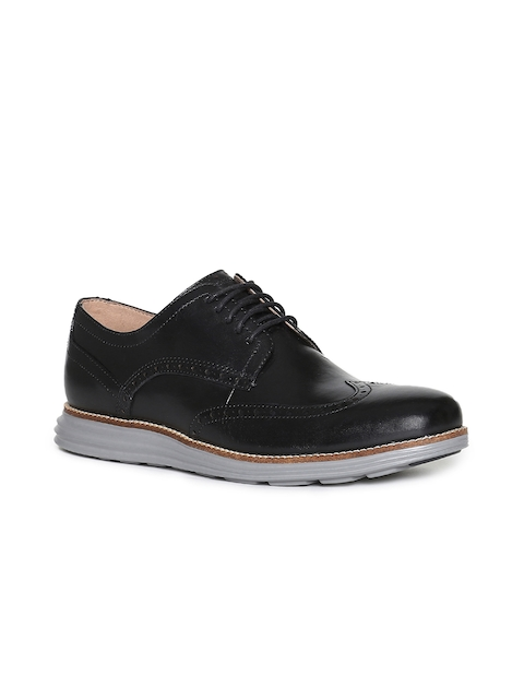 Cole Haan Men Black Solid Leather Brogues