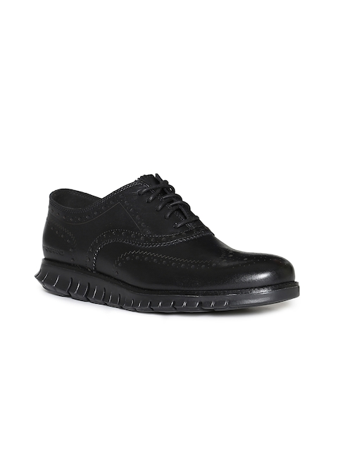 Cole Haan Men Black Leather Oxfords