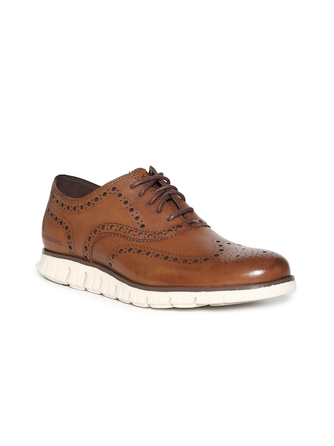 Cole Haan Men Brown Leather Oxfords