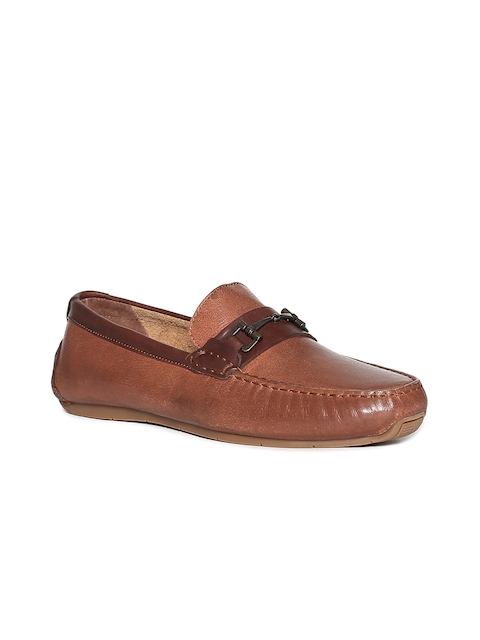 Cole Haan Men Tan Brown Leather Formal Slip-Ons