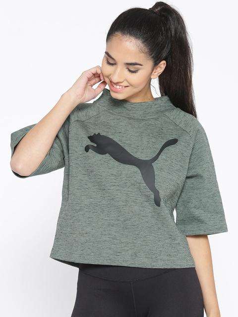 Puma Women Olive Green EVOSTRIPE Printed Sweatshirt