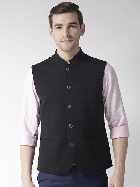 Arrow Men Black Woven Design Zero Calorie Fit Nehru Jacket
