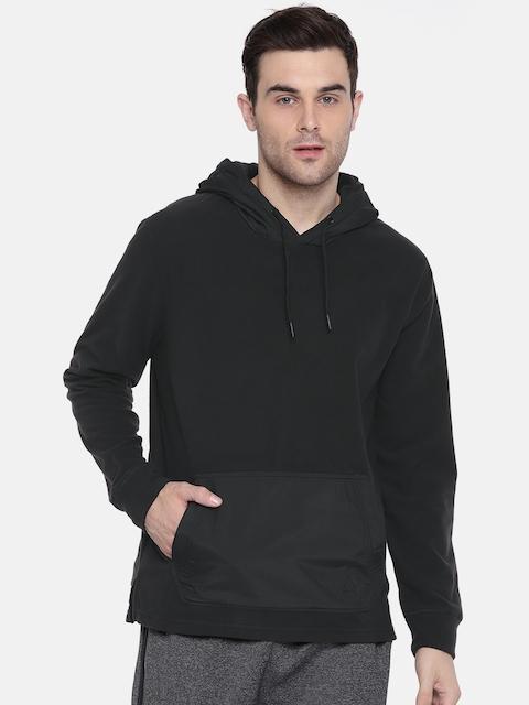 Reebok Men Black Solid MICRO FLC Hooded Sweatshirt