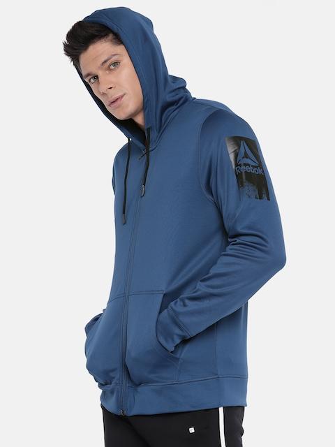 Reebok Men Blue WOR THERMOWARM Hooded Sweatshirt