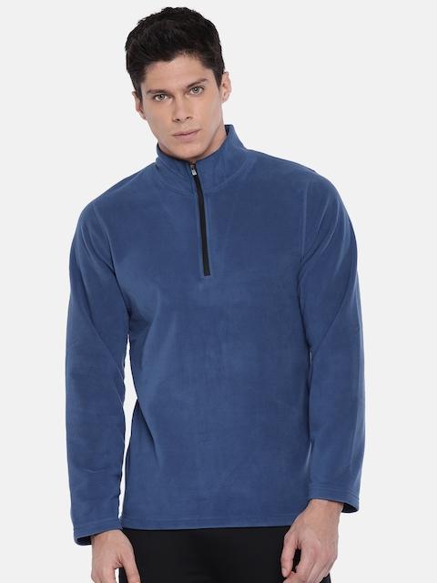 Reebok Men Blue Solid Hooded TE MARBLE GROUP FZ Sweatshirt