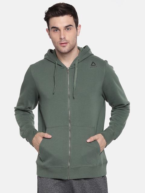 Reebok Men Green Solid Hooded TE FLEECE FZ Sweatshirt