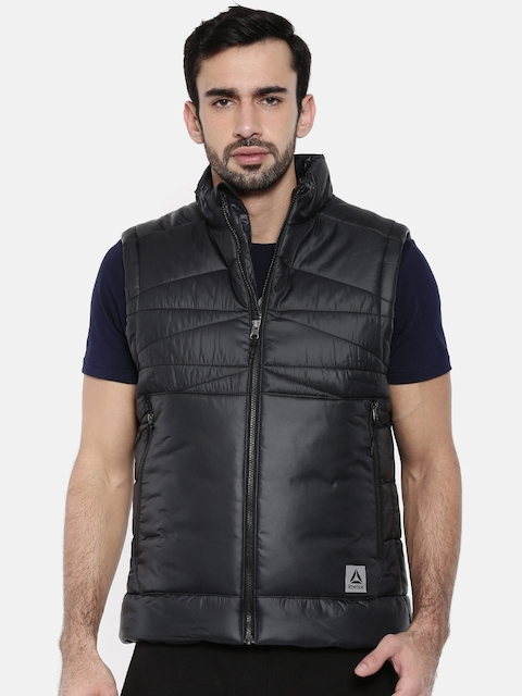 Reebok Men Black Solid Sleeveless OD Padded Jacket