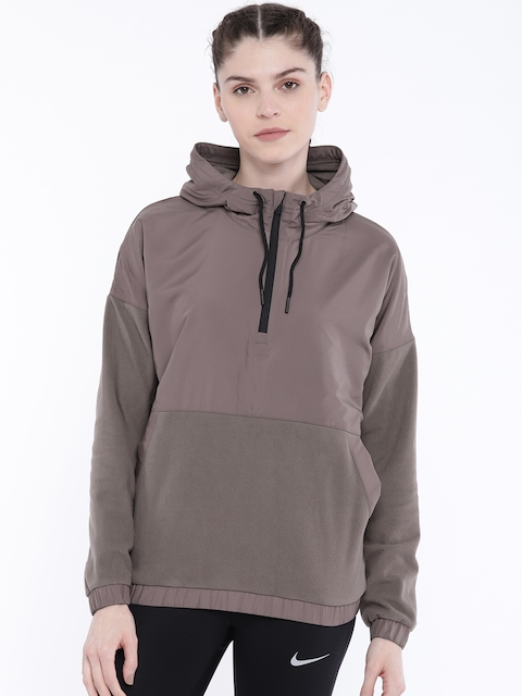 Reebok Women Mauve EE MICROFLEECE WVN HOODIE Sweatshirt