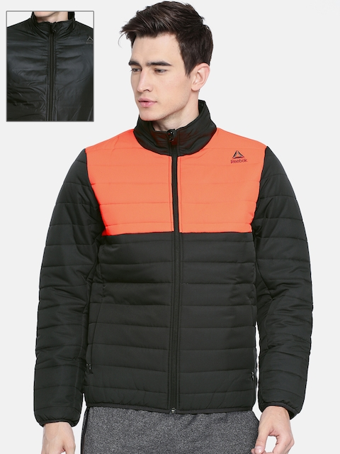 Reebok Men Black & Orange Colourblocked Reversible Outdoor Padded Jacket