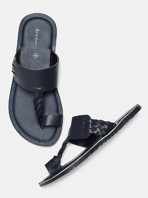 Mast & Harbour Men Navy Solid Sandals