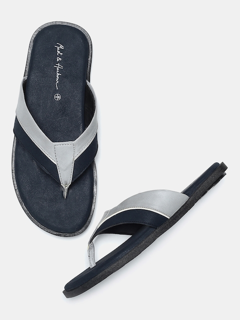 Mast & Harbour Men Blue & Grey Colourblocked Comfort Sandals